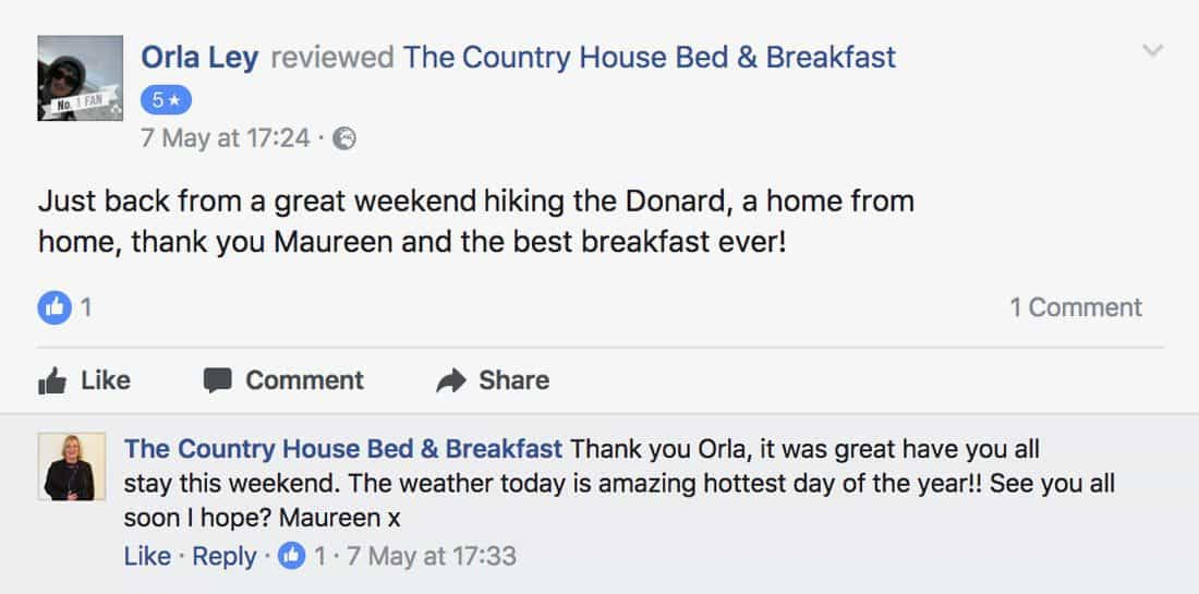 Engage with users who leave a user review on Facebook for you b&b